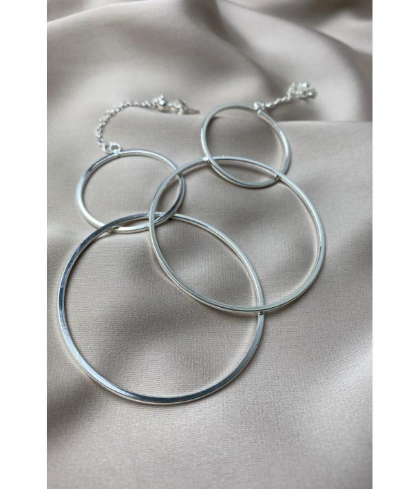 Серебряные серьги с двойным кольцом