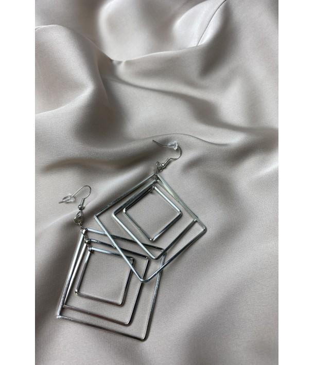 Срібні сережки квадрати