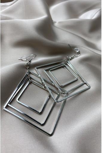 Серебряные серьги квадраты