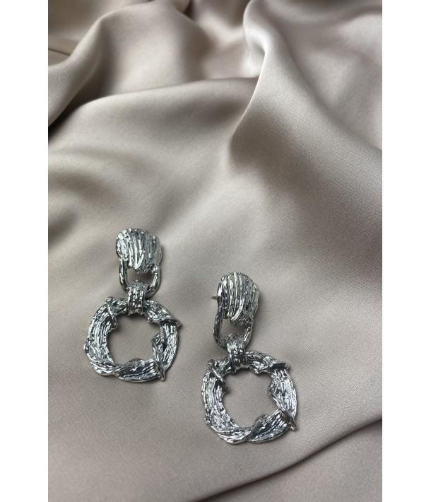 Срібні сережки рифлені