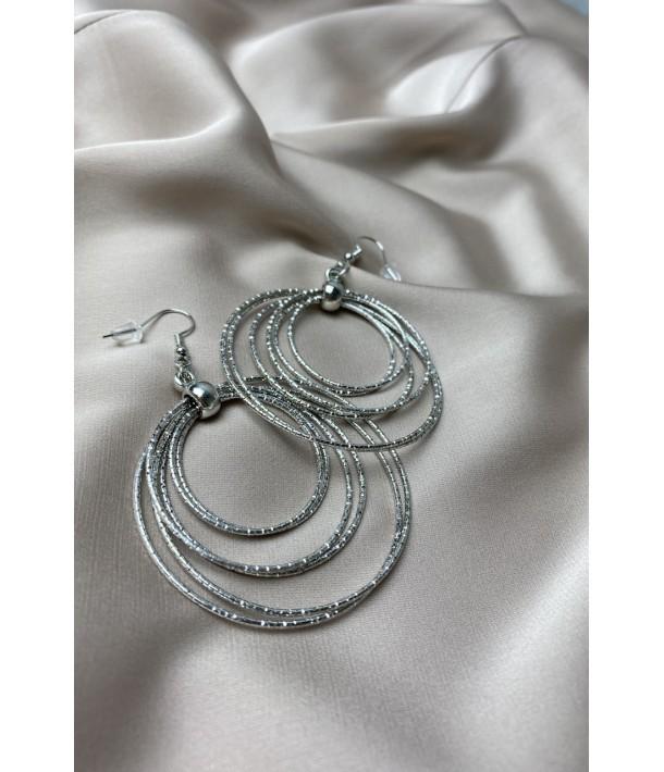 Срібні сережки рифлені кільця