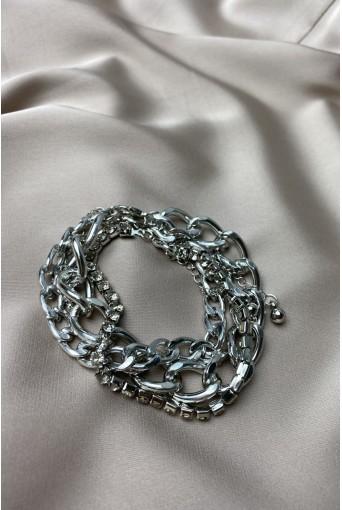 Срібний браслет-трійка з камінцями