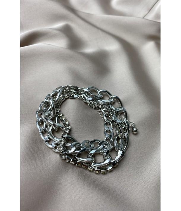 Серебряный браслет-тройка с камушками