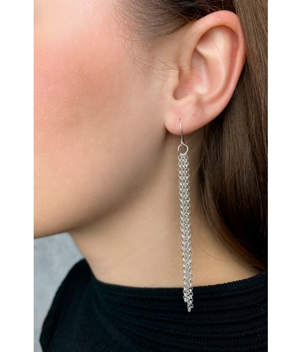 Срібні сережки-ланцюжки