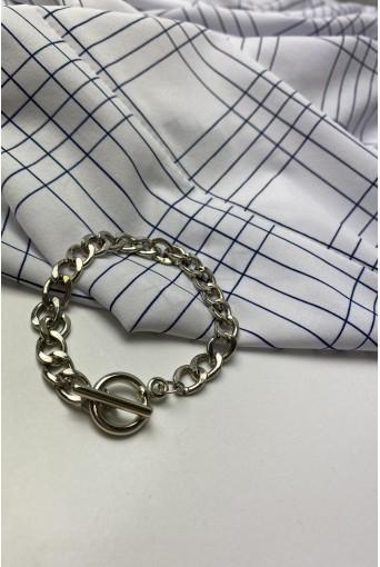 Срібний браслет з кільцем