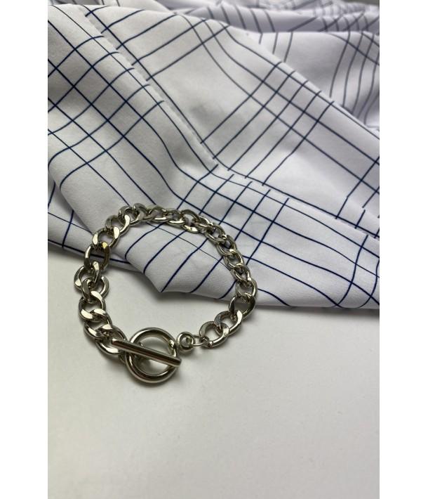 Серебряный браслет с кольцом
