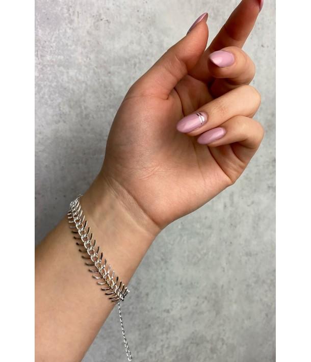 Срібний браслет риб'ячий скелет