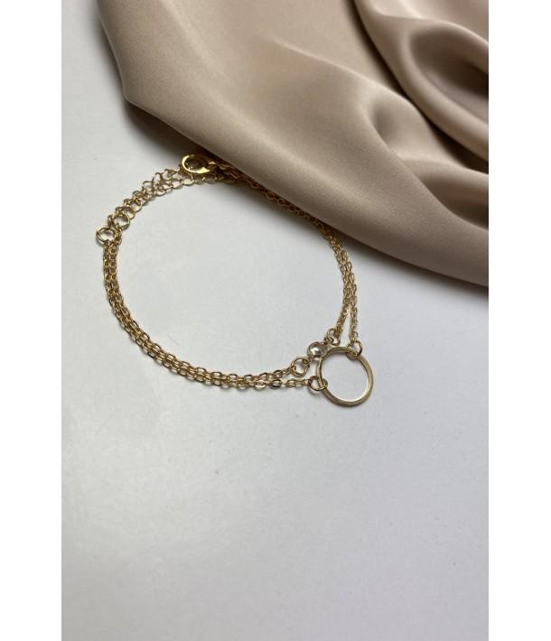 Золотой браслет с кольцом