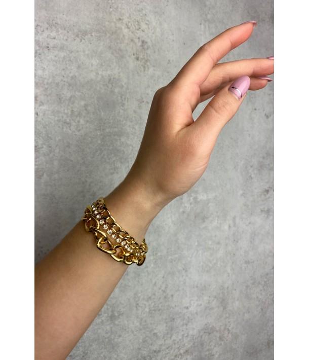 Золотой браслет тройка с камушками
