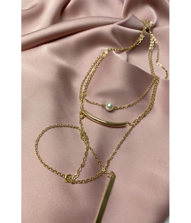 Золотая тройная цепочка с подвесками