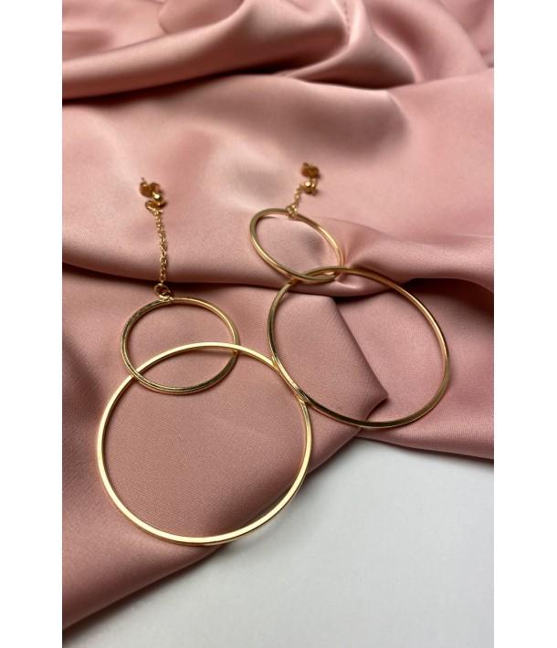 Золоті сережки з подвійним кільцем