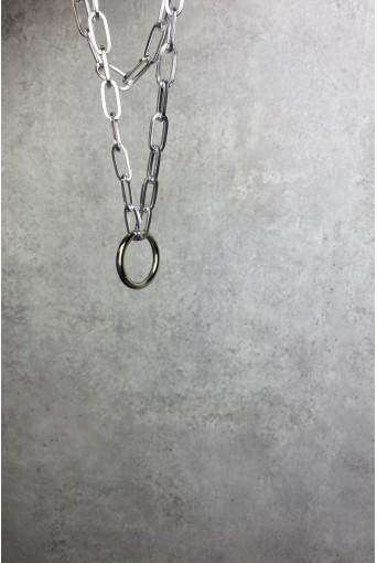 Серебряная двойная цепочка с кольцом