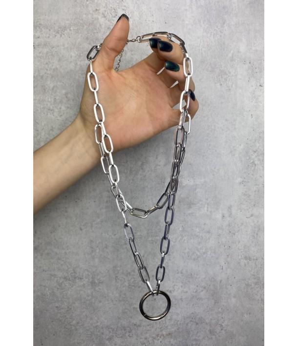 Срібний подвійний ланцюжок з кільцем