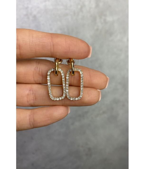 Золоті сережки прямокутники з камінцями