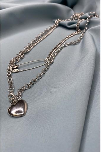 Ланцюжок сріблястий з підвісками сердечко та булавка
