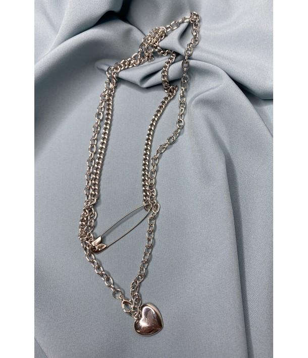 Цепочка серебристая с подвесками сердечко и булавка