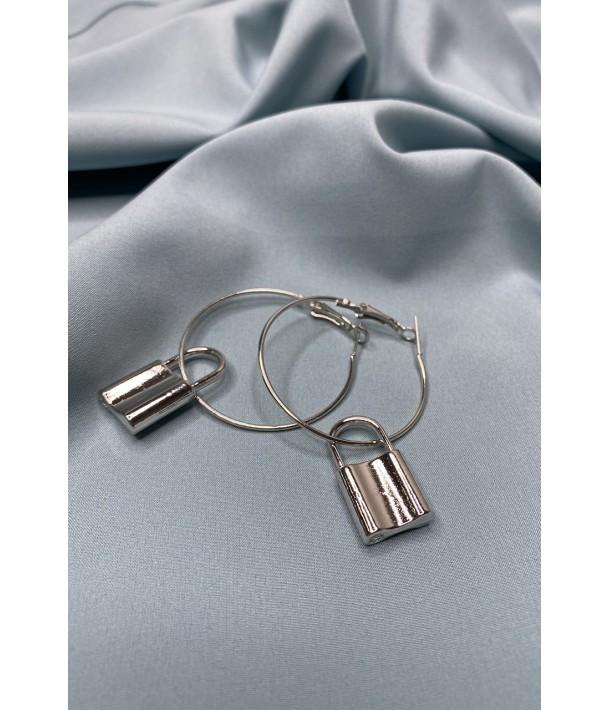 Серьги серебряные с замочком