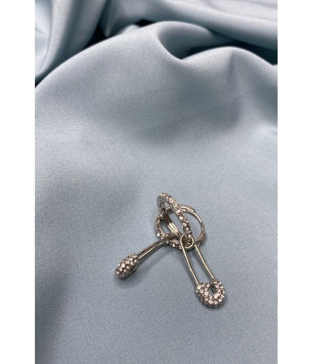 Сережки шпилька сріблясте кільце