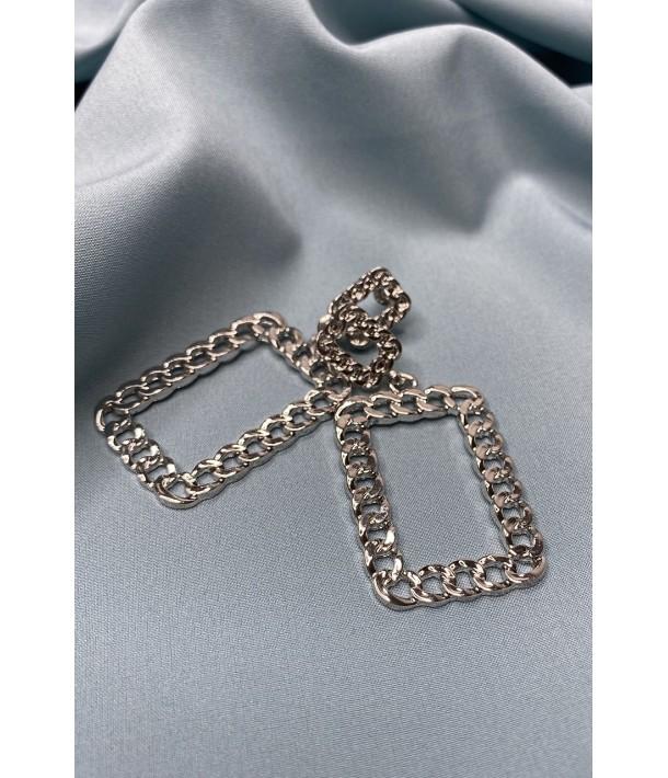 Сережки сріблясті квадратні плетіння