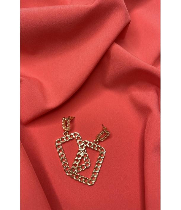 Сережки золотисті квадратні плетіння