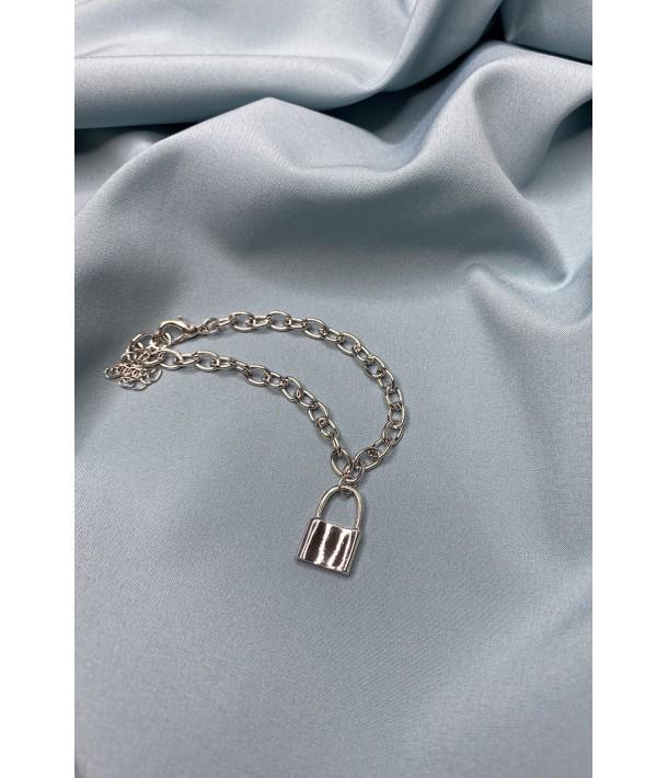 Браслет серебряный тонкий с замочком