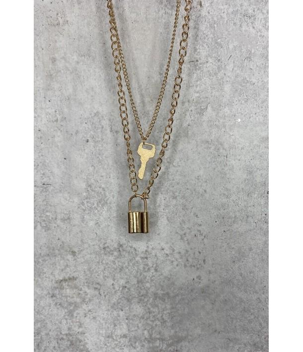 Ланцюжок золотистий  ключ та замок