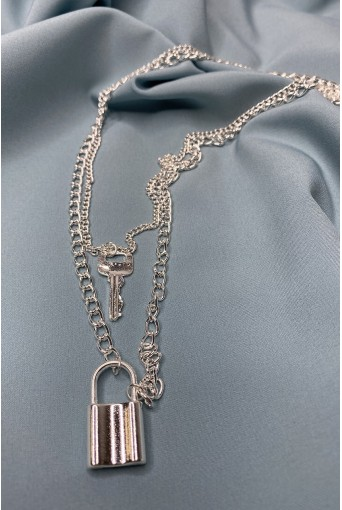 Ланцюжок сріблястий  ключ та замок