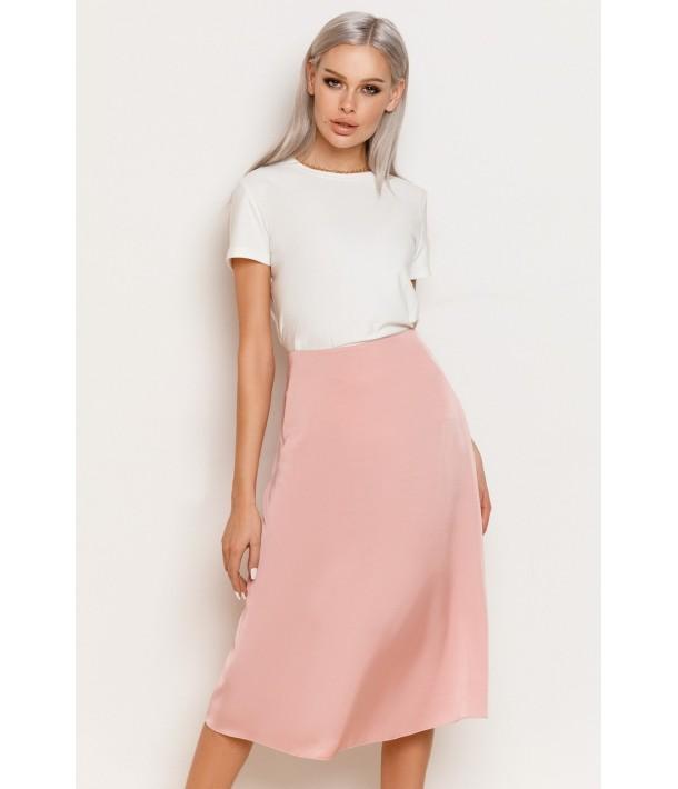 Шелковая юбка миди розовая