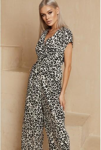 Комбінезон без рукавів з чорно-білим леопардовим принтом