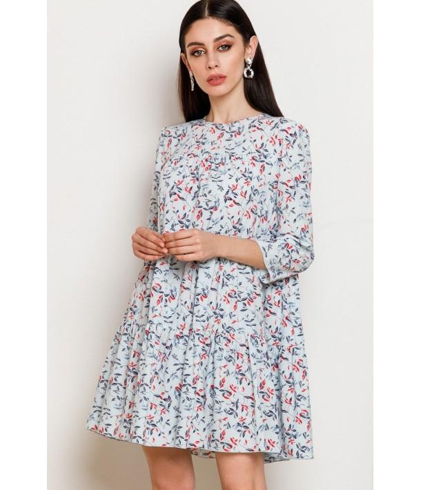 Небесное платье мини с принтом цветные листья