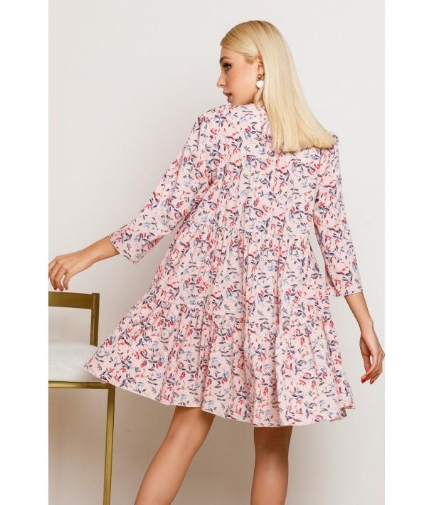 Пудровое платье мини с принтом цветные листья