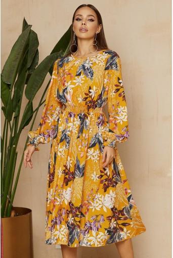 Оранжевое платье с принтом в цветы длиной миди