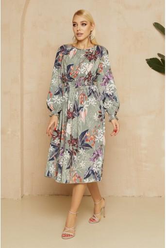 Шалфейное платье с принтом в цветы длиной миди