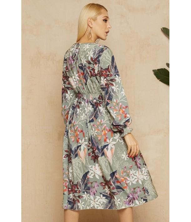 Шалфейна сукня з принтом в квіти в довжині міді