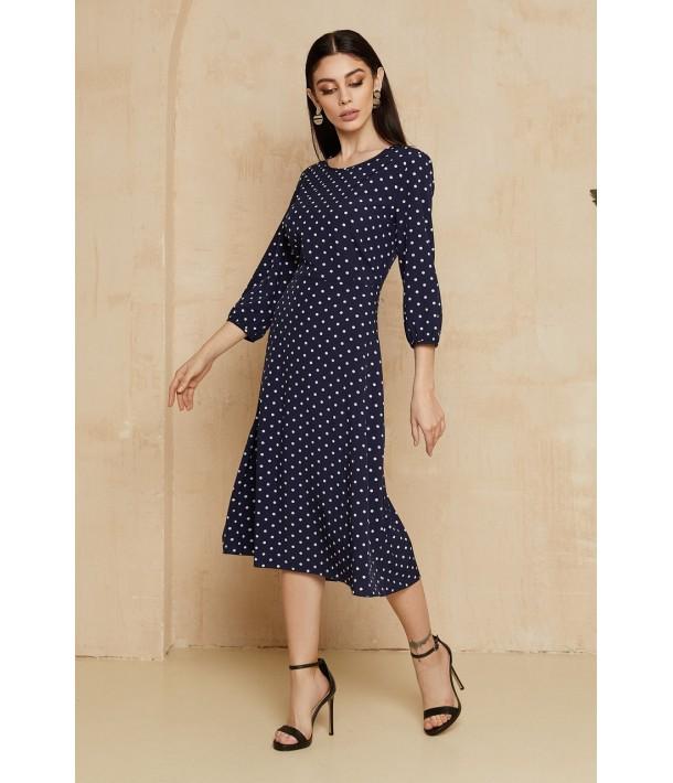 Темно-синя сукня міді в горох
