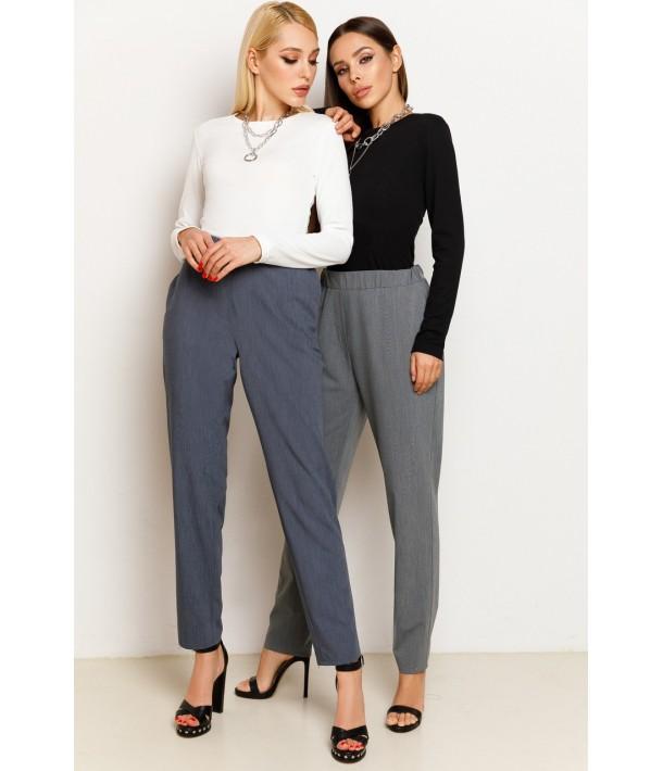 Синие женские брюки на резинке