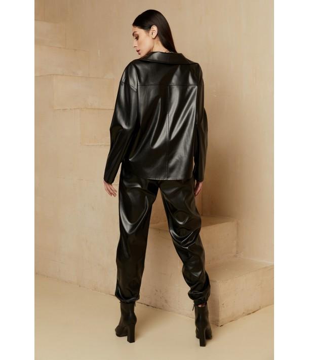 Чорні джогери з еко-шкіри