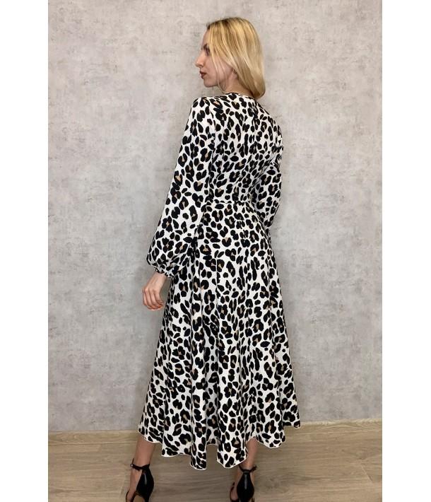 Платье на запах с объемными рукавами в цветной леопардовый принт