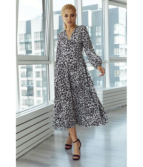 Платье на запах с объемными рукавами в черно-белый леопардовый принт