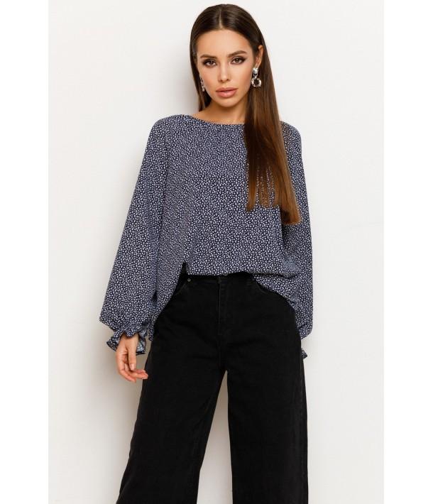 Темно-синяя блуза с принтом мелкоцвет