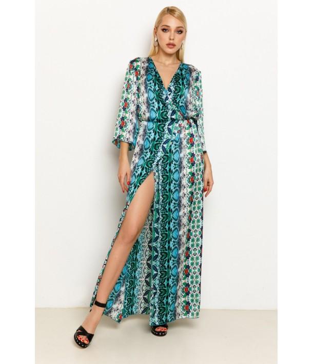 Платье макси из искусственного шелка с сине-зеленым принтом