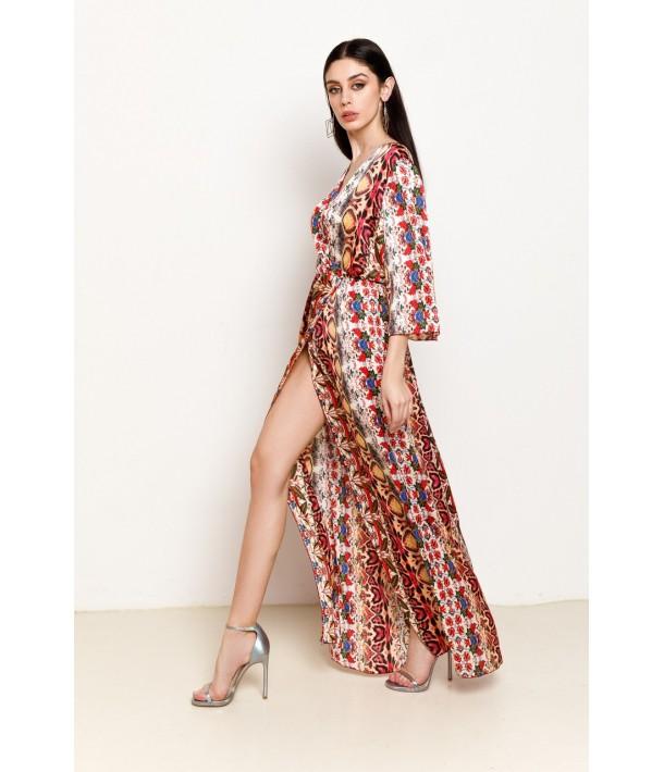 Платье макси из искусственного шелка с коралловым принтом