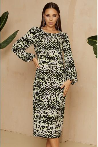 Платье-футляр миди со змеиным принтом