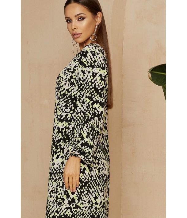 Сукня-футляр міді зі зміїним принтом