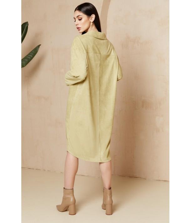 Фисташковое замшевое платье-рубашка