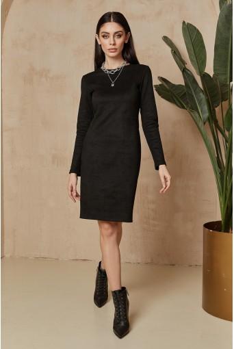 Черное замшевое платье-футляр