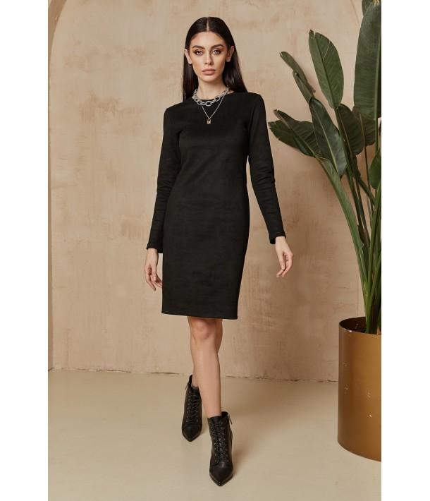 Чорна замшева сукня-футляр
