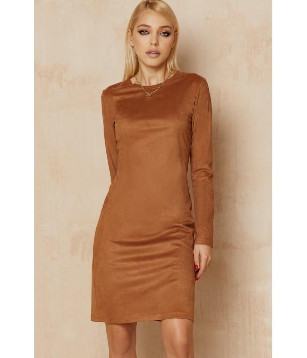 Замшевое платье-футляр в цвете кэмел