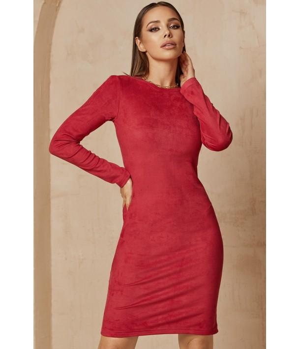 Ягідна замшева сукня-футляр