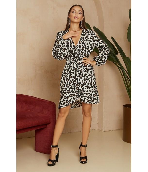 Міні сукня на запах з кольоровим леопардовим принтом